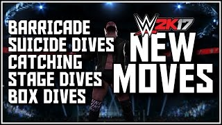 WWE 2K17 More New Moves - Barricade, Stage Dives, Suicide Dive OMGs, Box Dives & Catching Finishers!