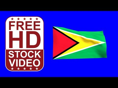FREE HD video backgrounds – Guyana flag waving on blue screen 3D animation