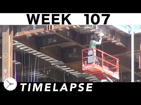 Construction time-lapse with 20 closeups: Week 107: Tower crane action, welding, and more