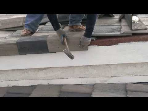 Tile- Rake installation with nails & Poly foam