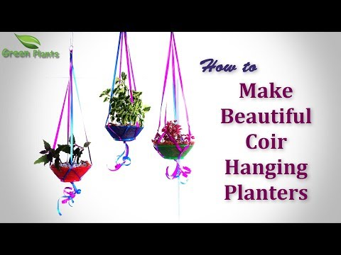 How to Make Beautiful Coir Hanging Planters OR Baskets | Plants in Coco Coir Baskets//GREEN PLANTS