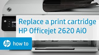 Replacing a Print Cartridge in the HP Officejet 2620 All-in-One Printer(Learn to replace the cartridge in the HP Officejet 2620 All-in-One Printer. For other helpful videos go to hp.com/supportvideos or youtube.com/hpprintersupport., 2014-04-05T00:26:14.000Z)