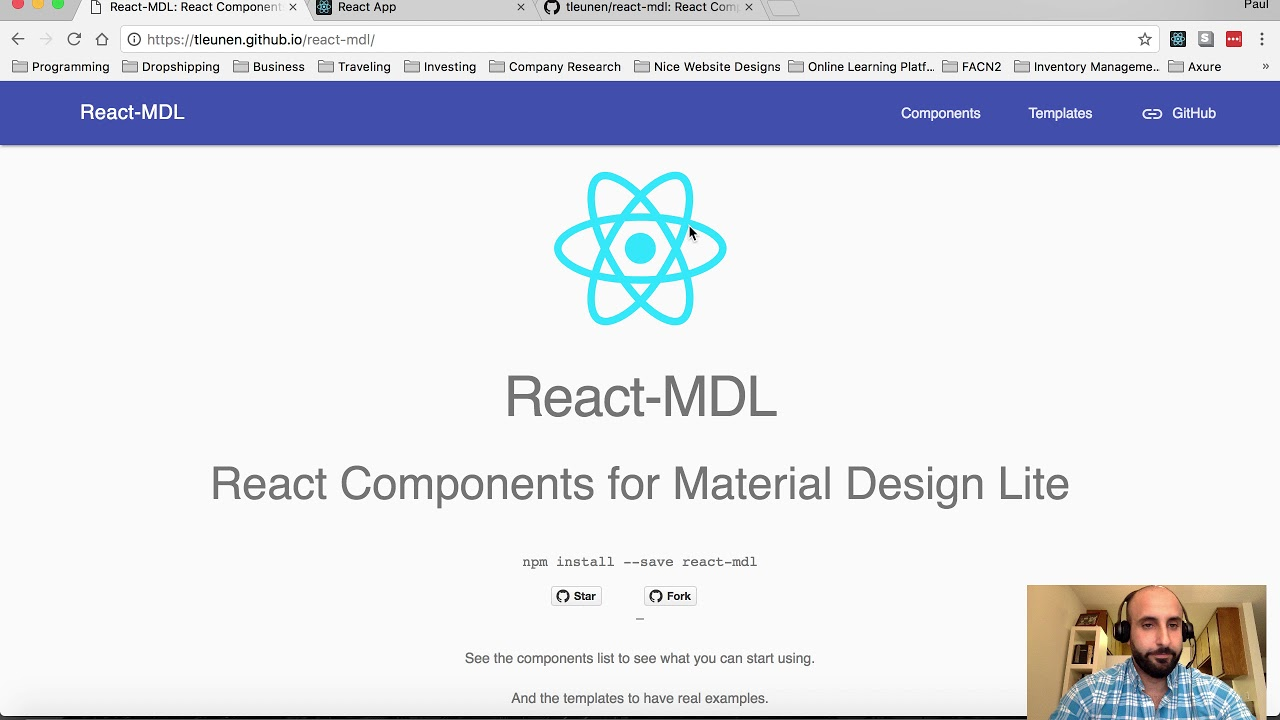 #1 Create React App Tutorial - Portfolio website with React Router v4 and  Material design