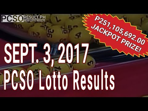 PCSO Lotto Results Today September 3, 2017 (6/58, 6/49, Swertres & EZ2)