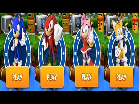 Sonic Dash Gameplay - SONIC VS KNUCKLES VS AMY VS TAILS
