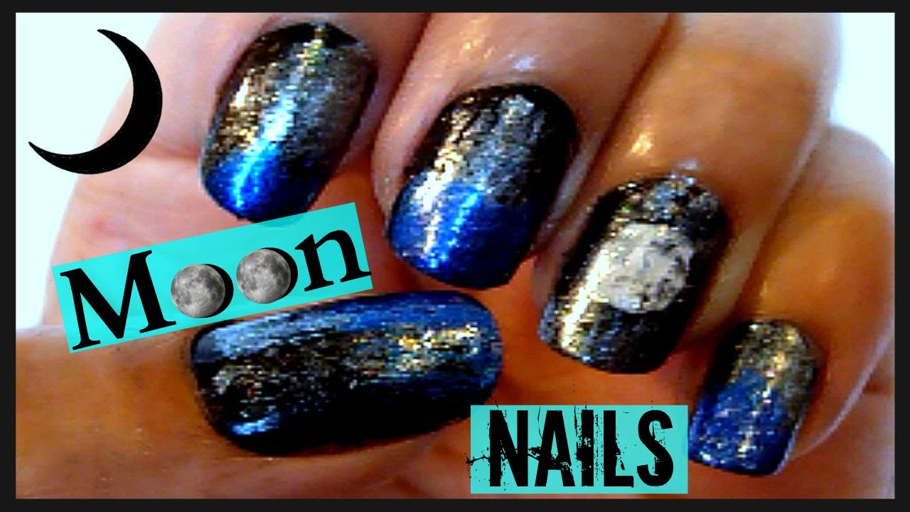 DIY Easy Moon Nail Art  Full Moon Blue & Black Starry ...