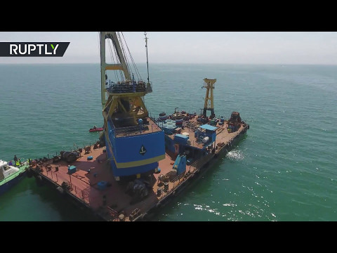 DRONE FOOTAGE:  WW2 American fighter aircraft lifted from the bottom of Kerch Strait