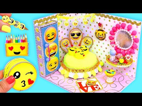 Barbie Hacks and Crafts! DIY Miniature EMOJI Dollhouse Room with Mini School Supplies