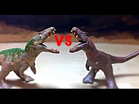Acrocanthosaurus vs Tarbosaurus | Dinosaur Claymation fight