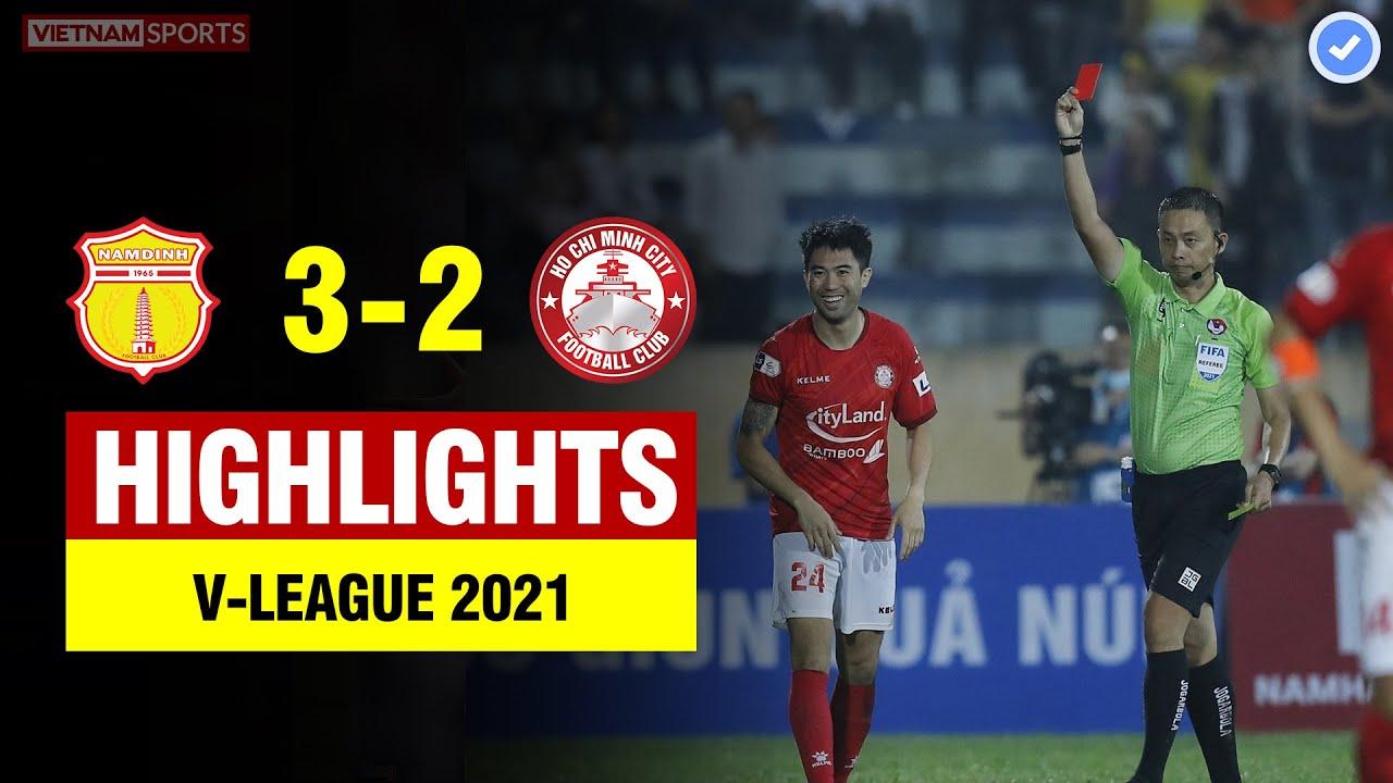 Highlights Nam Định vs TP HCM   Lee Nguyễn đá xấu nhận thẻ đỏ - Nam Định ngược dòng không tưởng