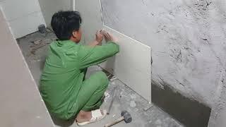 Hướng dẫn ốp gạch nhà vệ sinh chuẩn, đẹp từng cm ( công trình phường Ninh Khánh )