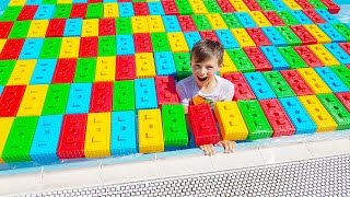 Ali Locked swimming Pool Pretend Play Rescue Mission with Colored Block Toys for Kids videos