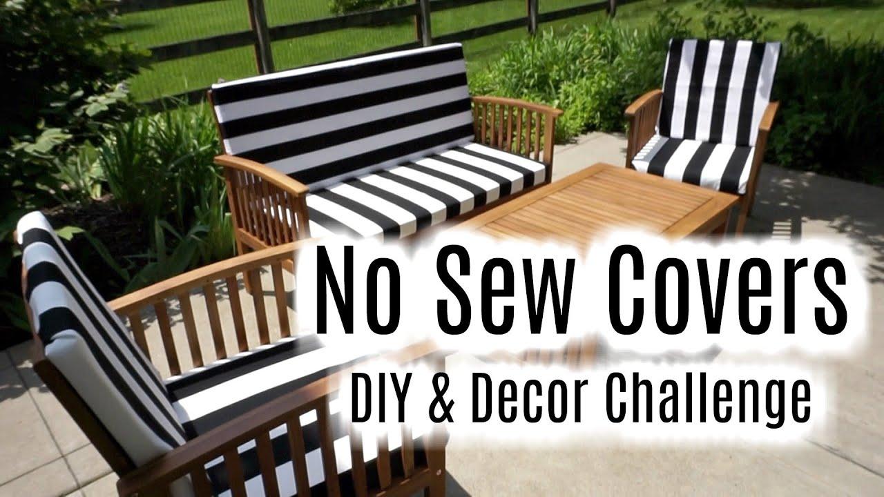 diy decor challenge glue velcro outdoor cushion covers