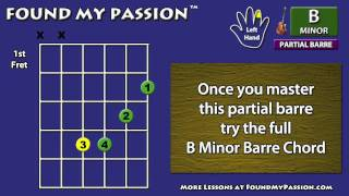 how to play b minor chord on guitar partial barre position