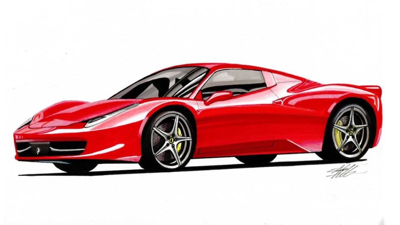 Realistic Car Drawing Ferrari 458 Italia Time Lapse