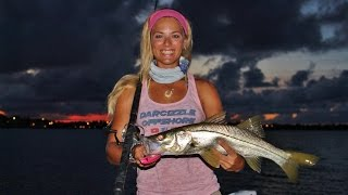 GIRL Inshore Dock Fishing for Florida Snook GoPro Video