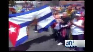 Quema de bandera de Cuba en Venezuela - América TeVé