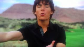 "Zac Efron, high school musical perfectly synchronized to frozens ""let it go""."