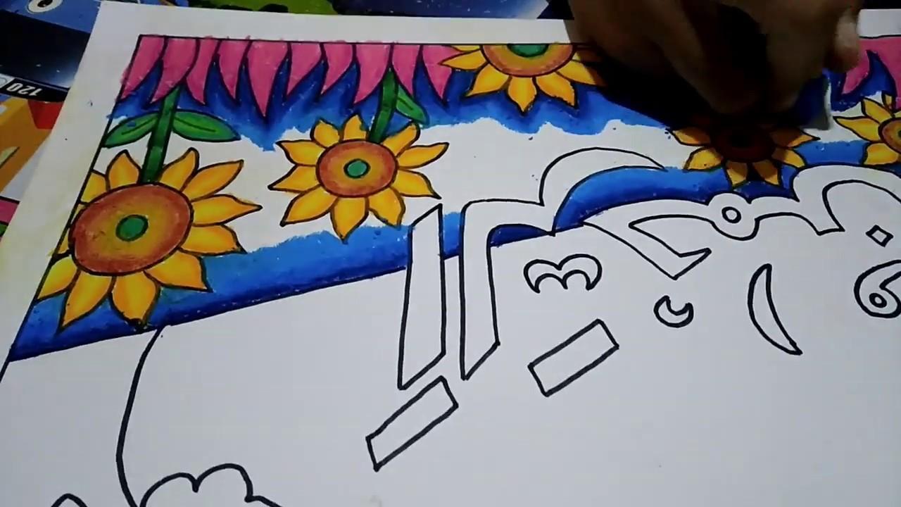 Menggambar Bunga Matahari Cara Menggambar Dan Mewarnai