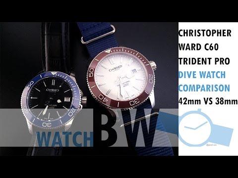 Christopher Ward C60 Trident Pro 600 42mm VS 38mm Dive Watch Comparison