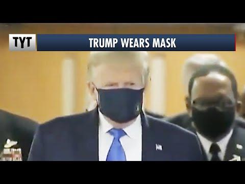 Trump FINALLY Wears Mask