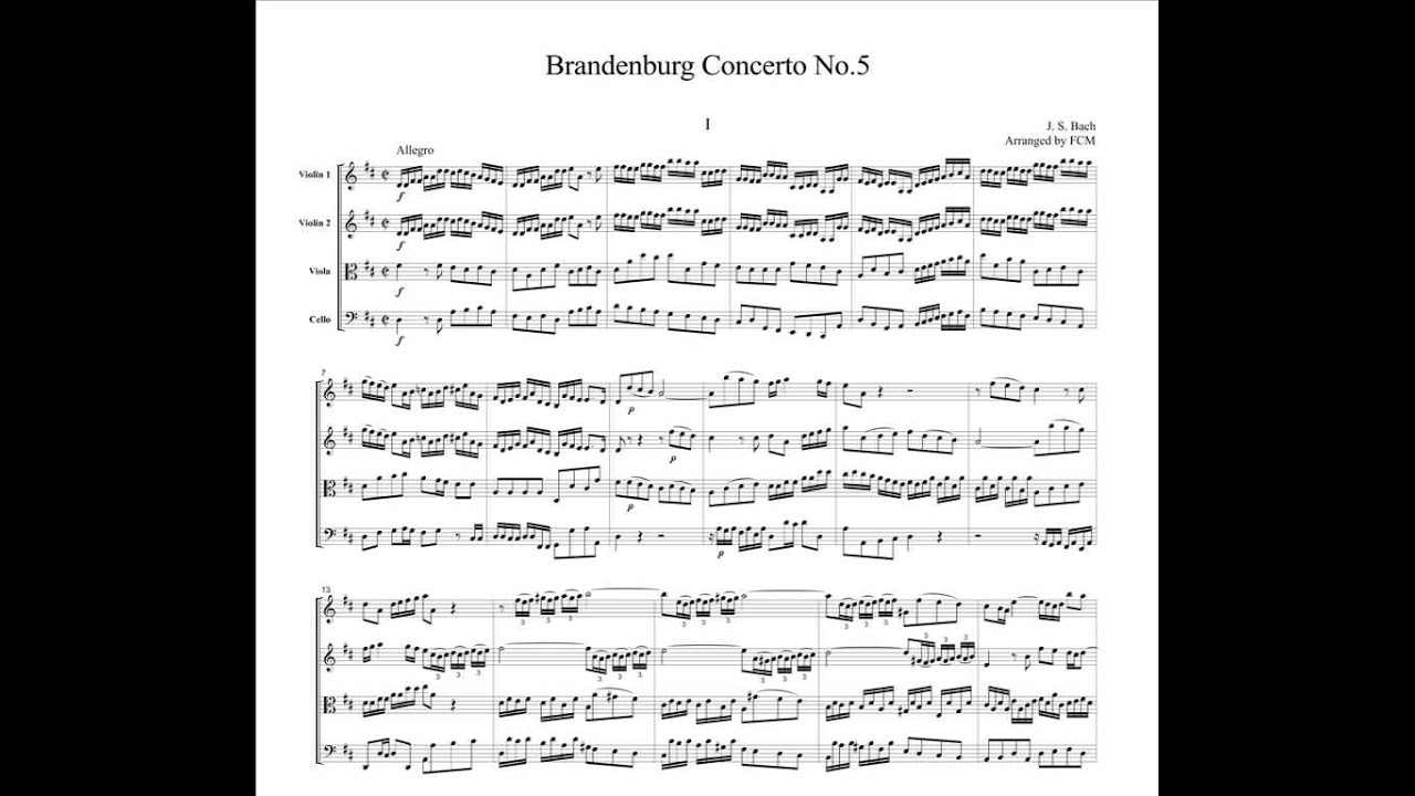 bachs brandenburg concerto no 5 5 bach: brandenburg concerto no 1, third movement bach: brandenburg  concerto no 3, first movement bach: brandenburg concerto no 6, third  movement.