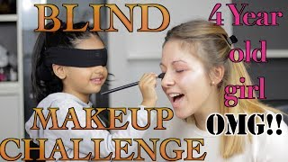 Blind makeup challenge by 4 year old girl | aimalifestile