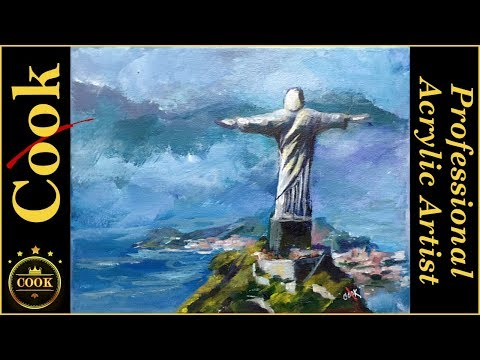 Jesus in Rio an Acrylic Painting tutorial  for Beginning Art