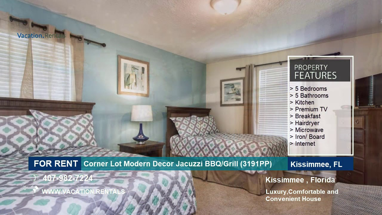Florida vacation rentals corner lot modern decor jacuzzi bbq
