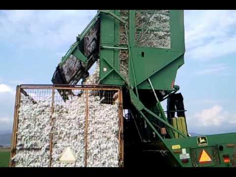 John Deere 9965 cotton picker combine,  unloading cotton in Selino Xanthis