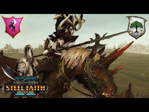 Morathi and the Dark Elves vs. Wood Elves - Steel Faith Overhaul - Total War Warhammer 2 Gameplay