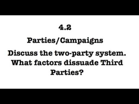 4.2 Discuss the two-party system.  What factors dissuade third parties?