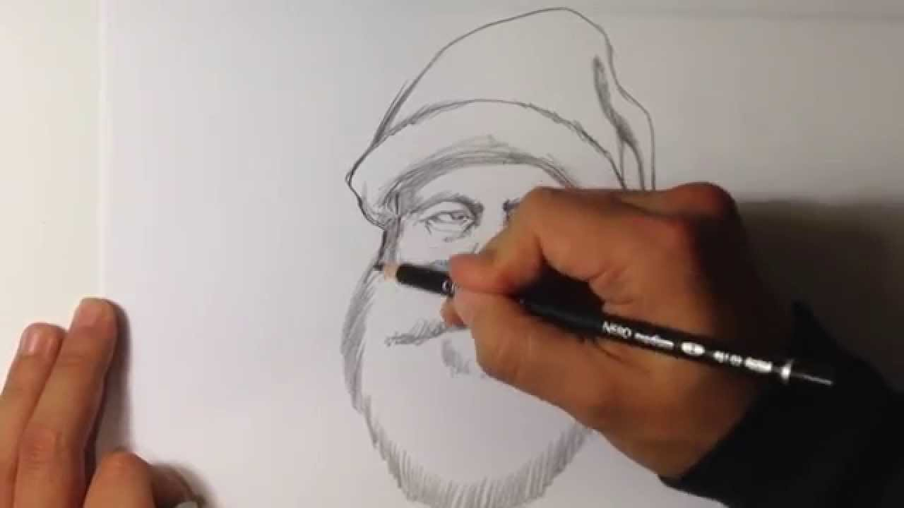 Line Drawing Santa Face : How to draw santa claus easy drawings youtube