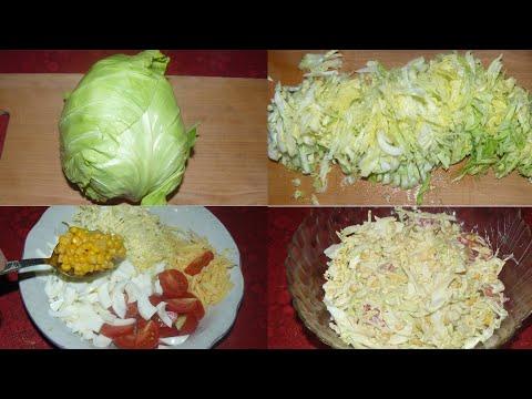 Салат с молодой капустой, сыром и яйцом. Вкусно!