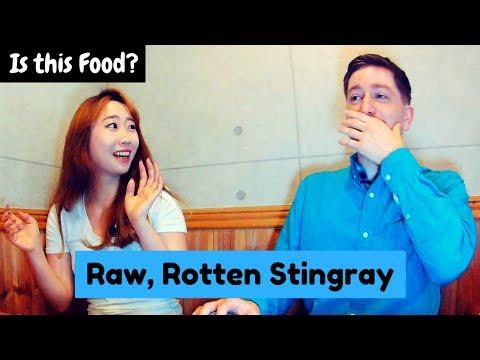 Raw, Rotten Skate Fish - The Smelliest Korean Food | 홍어 처음 먹는 미국인