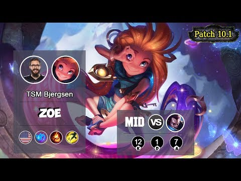 TSM Bjergsen Zoe MID Vs Yasuo | LOL | S10 NA Placements - Full Gameplay