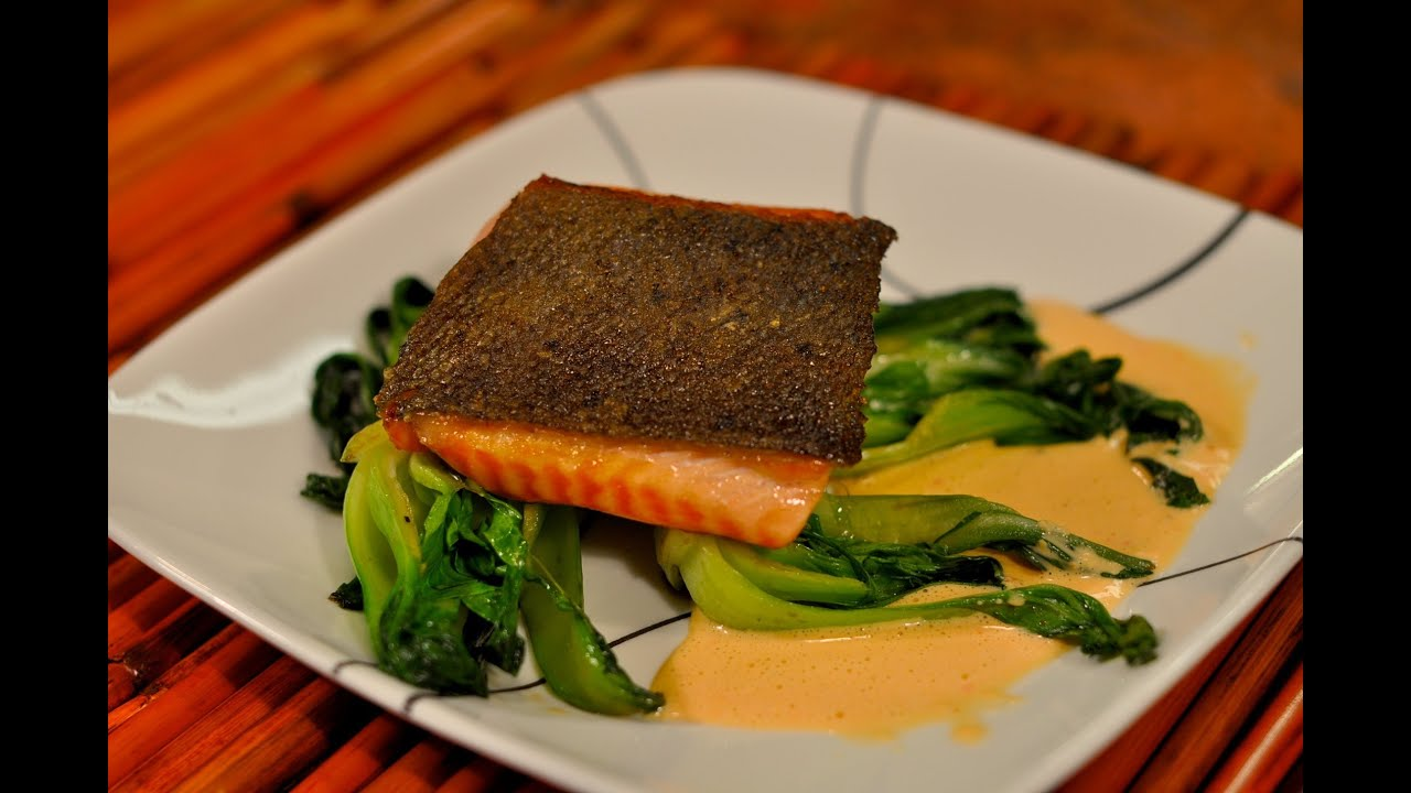 Recipe For Pan Seared Salmon With Crispy Skin On Baby Bok Choy With Red  Pepper And Garlic Sauce  Youtube