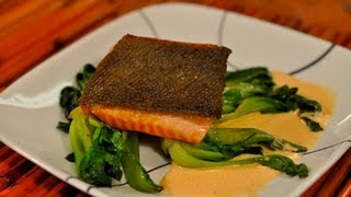 Recipe For Pan Seared Salmon With Crispy Skin On Baby Bok Choy With Red Pepper And Garlic Sauce