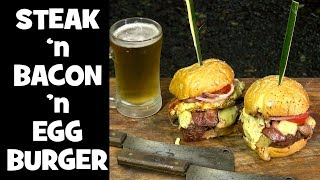 Steak 'n Bacon 'n Eggs Breakfast Burger
