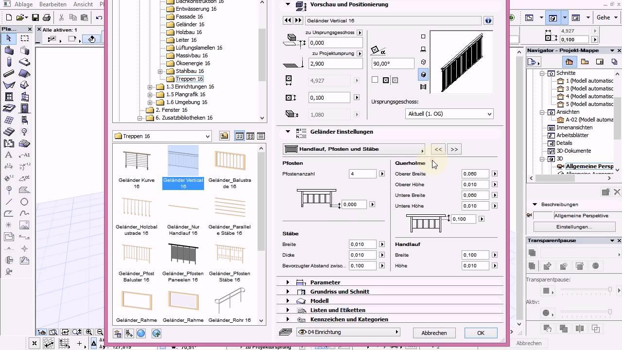 Archicad 16 Basics 30 Tut Balkon aus Decke mit Geländer GDL YouTube