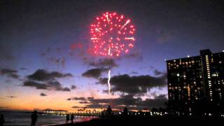 Beachfront Fireworks Display at Hilton Hawaiian Village, Oahu
