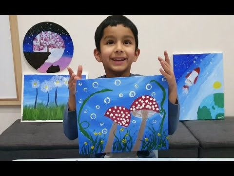 Mushrooms under the water | Easy Painting Ideas | Art for Kids