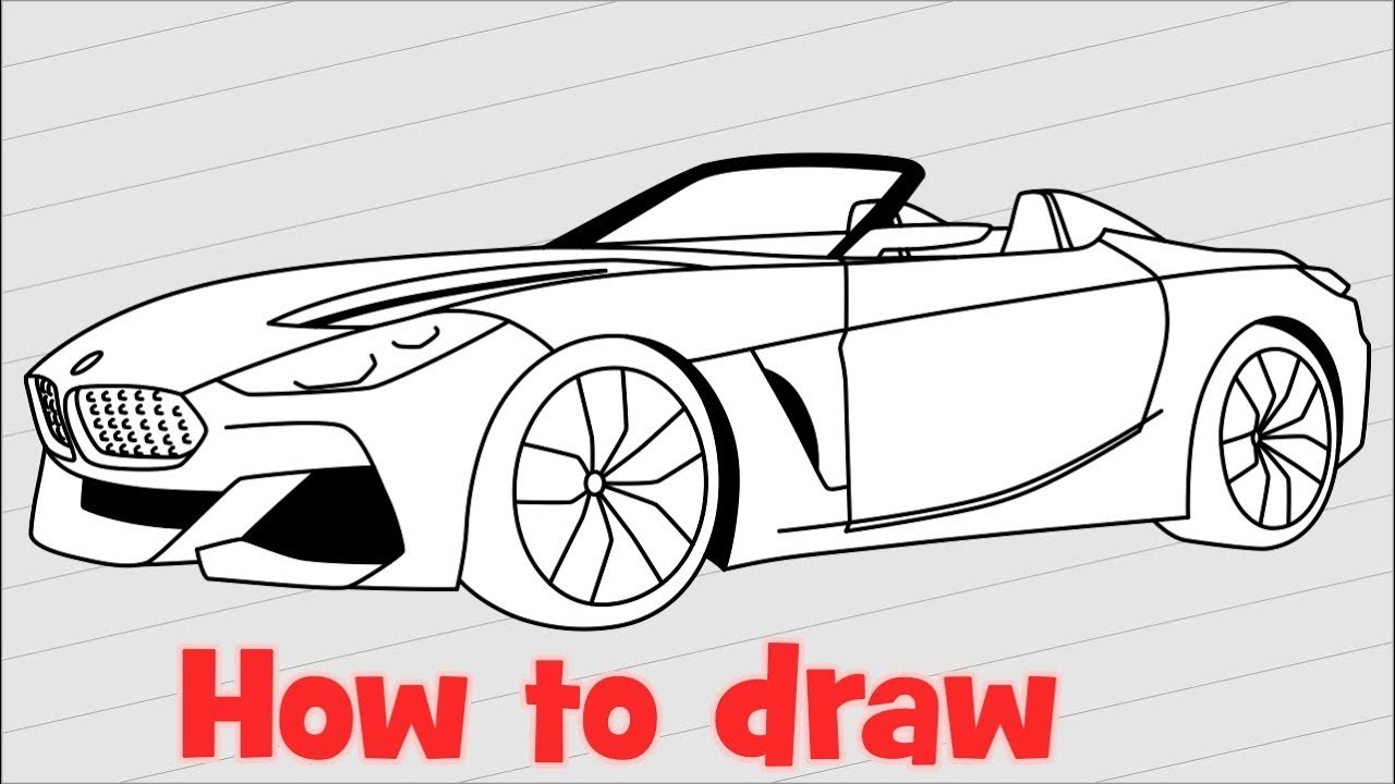 How To Draw A Car Bmw Z4 2018 Step By Step Youtube