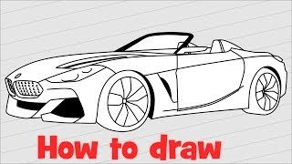 How to draw a car BMW Z4 2018 step by step