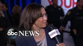 Harris defends work as prosecutor after she's questioned during debate