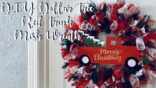 DIY Dollar Tree Red Truck Mesh Wreath
