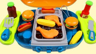 Feeding Play Doh Shrek with Toy Barbecue Grill BBQ Playset Hamburger Hotdog Chicken and More!