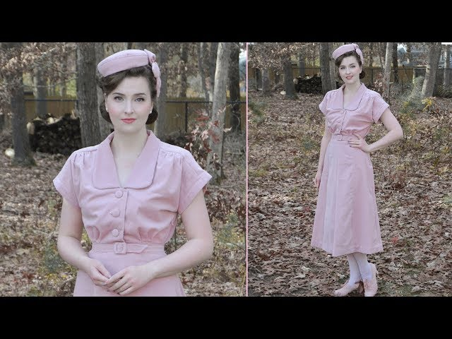 A Pink Velveteen 1940s Dress : Sewing Vlog