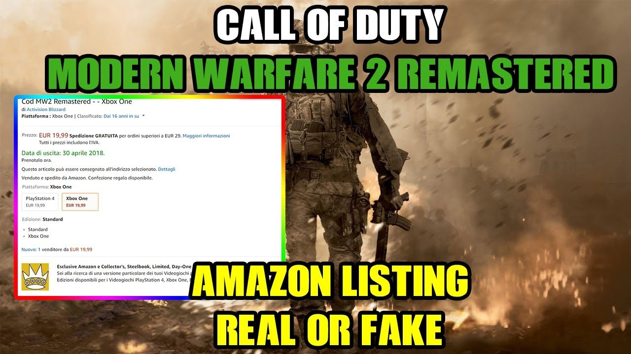 AMAZON LISTING FOR CALL OF DUTY: MW2 REMASTERED!!! | REAL OR FAKE ...