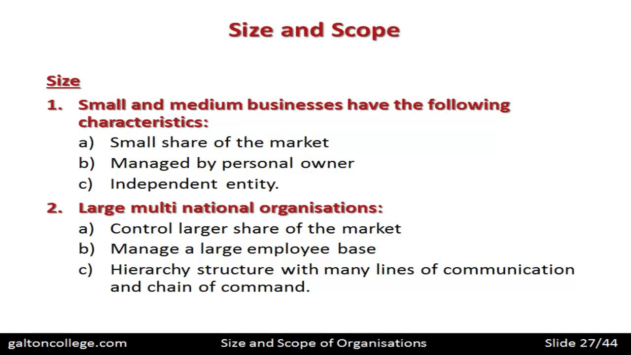 Size And Scope Of Organisations Youtube